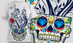 Designious Sugar Skull T shirt Design Free Vector Cdr