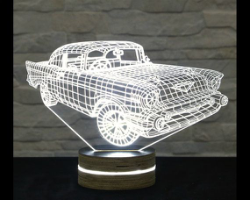 Car 3D LED Night Light Free Vector Cdr