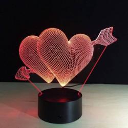 Heart 3D LED Night Light Free Vector Cdr