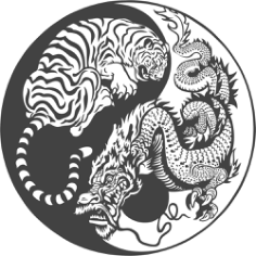 Tiger Dragon Yin Yang Vector Art Free Vector Cdr