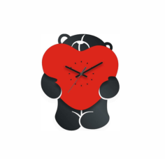 Bear with Heart Clock Laser Cut Free Vector Cdr