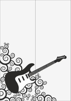 Guitar Sandblast Pattern Free Vector Cdr