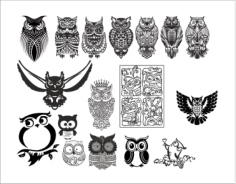 Large set of black and white owl vectors Free Vector Cdr