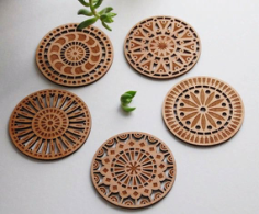 Laser cut coasters Free Vector Cdr