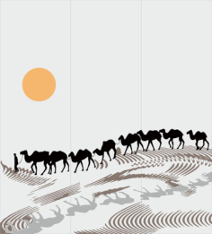 Sandblasting drawing Camels in desert Decal Free Vector Cdr