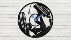 Devushka V Naushnikakh Vinyl Record Wall Clock Free Vector Cdr