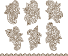 Henna Mehndi Paisley Tattoo Vector Design Elements Free Vector Cdr