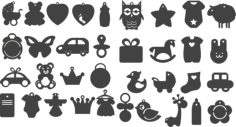 Set Black Silhouettes Pictures Children Toys Vectors Free Vector Cdr