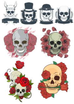 Creative hand-painted skull print pattern Free Vector Cdr