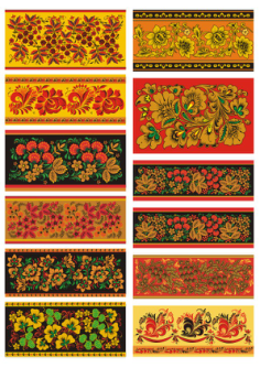 Russian Khokhloma Pattern Seamless Vector Set Free Vector Cdr