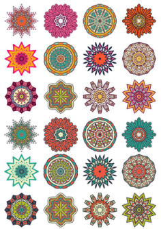 Round Floral Curly Ornament Vector Pack Free Vector Cdr