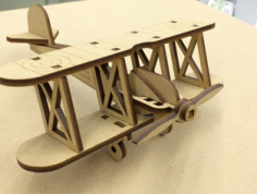 Bi Plane 0.125in Wooden Toy Airplane Laser Cut Free Vector Cdr