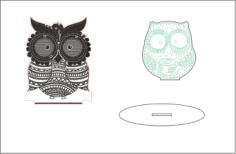 Sleepy-eyed Owl Night Light Free Vector Cdr