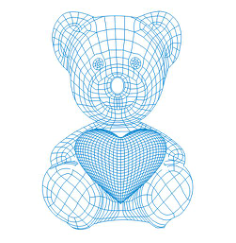 Teddy bear with heart 3d illusion lamp plan Free Vector Cdr