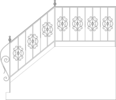 Wrought Iron Stairs Railing, Fence And Grilles Free Vector Cdr
