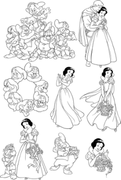 Seven Dwarfs Snow White Wall Decal Free Vector Cdr