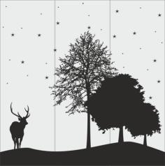 Deer And Tree Silhouette Vector Art Free Vector Cdr