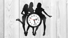 Girls silhouette vinyl record clock Free Vector Cdr