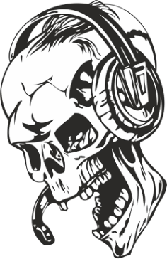 Skull with Headphones Sticker Vector Free Vector Cdr