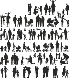 Family Silhouette Vector Set Free Vector Cdr