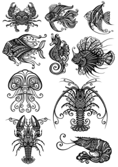 Ornament Sea Amimals Art Vector Pack Free Vector Cdr