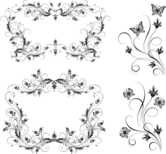 Floral Borders Set Free Vector Cdr