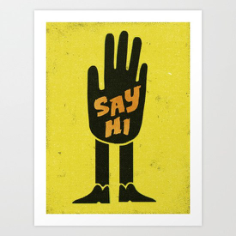 Say Hi Wall Art Free Vector Cdr