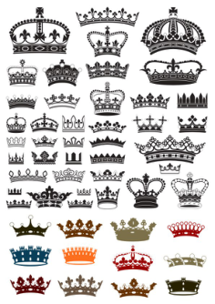 Collection of crown silhouette symbols Free Vector Cdr
