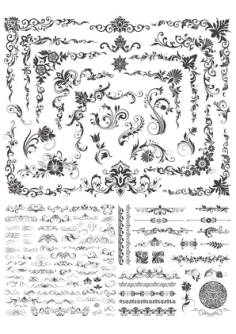 Floral Decor Elements Free Vector Cdr