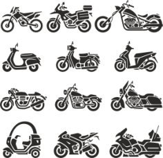 Motorcycle Silhouettes Vector Set Free Vector Cdr