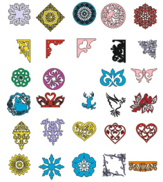 Floral ornaments collection Vector Free Vector Cdr