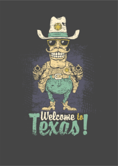 Welcome To Texas Print Free Vector Cdr