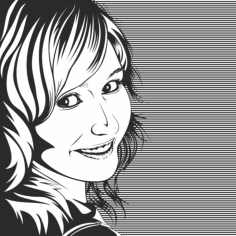 Vector Drawing of Woman in Black and White Free Vector Cdr