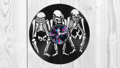 Skeletons Vinyl Clock Free Vector Cdr