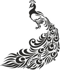 Peacock Stencil Free Vector Cdr
