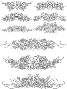 Flowers Decor Set Free Vector Cdr