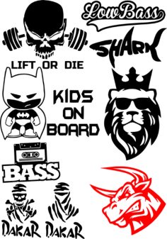 Vinyl Stickers on Car Vector Pack Free Vector Cdr