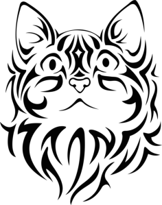 Pretty Tribal Cat Face Silhouette Vector Free Vector Cdr