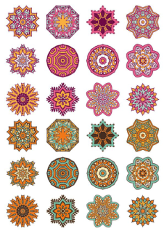 Mandala Ornaments Circles Vector Set Free Vector Cdr