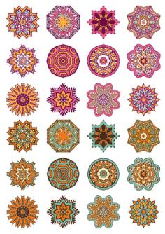 Mandala Ornaments Circles Vector Set Free Vector Cdr