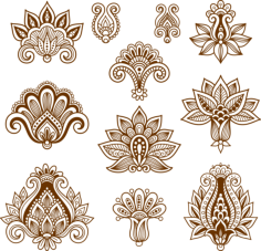 Vector Handdrawn Abstract Henna Mehndi Paisley Free Vector Cdr