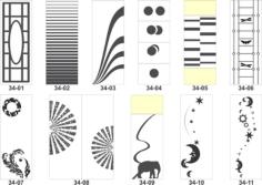 Artistic sandblasting patterns Free Vector Cdr