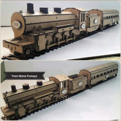 Locomotive Laser cutting 3d puzzle Free Vector Cdr
