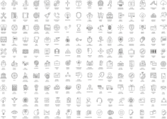 Thin Line Icons Set Free Vector Cdr