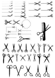 Scissors with Cut Lines Vector Illustration Free Vector Cdr