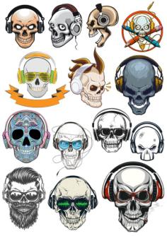 Skull with Headphones Free Vector Cdr