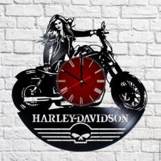 Harley Davidson Vinyl Record Wall Clock Free Vector Cdr