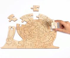 Snail Alphabet Jigsaw Puzzle Template vector Free Vector Cdr
