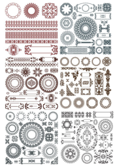 Doodles border decor elements Free Vector Cdr