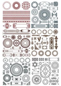Doodles border decor elements Free Vector Cdr